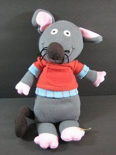 "Lg MARIE MOUSE Latitude Enfant Paris Sock 16"" Plush Stuffed Toy B251"
