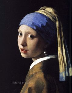 Antique Oil Painting Giclee Canvas Girl with a pearl earring c.1665, Johannes Vermeer (1632–1675)