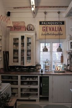 Old farm kitchen- love the Gevalia Coffee sign. allmywishesanddreams.blogspot.com