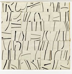 """A new collection is coming / inspiration Ellsworth Kelly, """"Brushstrokes Cut into Forty-Nine Squares and Arranged by Chance,"""" 1951 Ellsworth Kelly, Impression Textile, Contemporary Abstract Art, Art Graphique, Mark Making, Grafik Design, Brush Strokes, Textures Patterns, Wall Textures"""