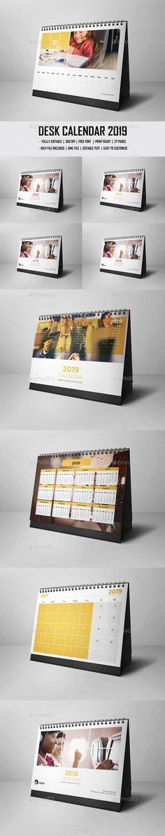 Desk Calendar 2019 Template InDesign INDD Calendar Templates