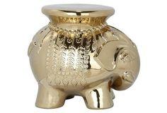Ceramic Elephant Stool, Gold