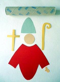 Bischof Nikolaus aus Küchenpapierrolle - Weihnachten-basteln - Meine Enkel und ich