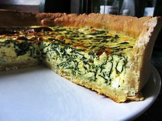 Goat Cheese & Spinach Quiche with Sesame Crust  From: kickass-cooking.com
