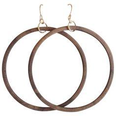 Salvaged wood hoop earrings