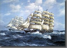 The Cutty Sark and the Thermopylae. In this race the fastest ship from China back to home port received double cargo value and double the wages for the crew. 16h x 20w (41cm x 51cm)