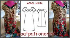 MAATPATRONEN TRICOT JURK. Een makkelijk naaipatroon, geschikt voor beginners!  MODEL N5144