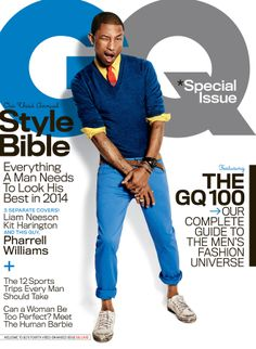Pharrell Williams Endorses Hillary Clinton For President: 'She's Gonna Win!': Photo Pharrell Williams leaves his famous hat at home on the cover of GQ magazine's April 2014 issue. Magazine Gq, Gq Magazine Covers, Magazine Design, Magazine Online, Magazine Layouts, Pharrell Williams, Gq Men, Paola Kudacki, Moda Masculina