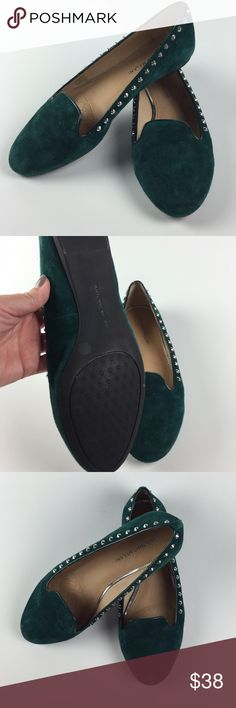 Antonio Melani Deep Green Studded Suede Flats -8.5 Antonio Melani Deep Green Studded Suede Flats - 8.5  Super cute flats with edgy studs.  #woodsnap #deepgreen #fallfashion #antoniomelaniflats ANTONIO MELANI Shoes Flats & Loafers