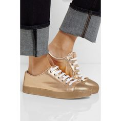 Prada Metallic textured-leather sneakers ($405) via Polyvore featuring shoes, sneakers, metallic shoes, white shoes, prada sneakers, prada shoes and metallic sneakers