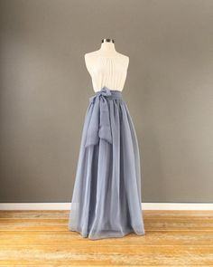 62f0d9e3f0511c Platinum Chiffon skirt, any length and color Bridesmaid skirt, floor  length, tea length, knee length empire waist grey chiffon skirt