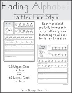 Visual prompts used for handwriting instruction include different papers, letter formation guides, modeling and wall cards. Pediatric Occupational Therapy, Pediatric Ot, Free Printable Worksheets, Alphabet Worksheets, School Ot, Speech And Language, Language Arts, Letter Formation, Teaching Tools