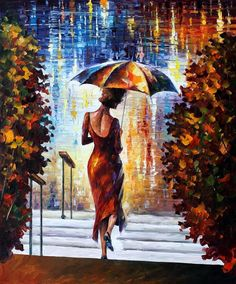 Leonid Afremov AT THE STEPS painting is shipped worldwide,including stretched canvas and framed art.This Leonid Afremov AT THE STEPS painting is available at custom size. Amazing Paintings, Amazing Art, Oil Paintings, Art Texture, Rain Art, Umbrella Art, Modern Impressionism, Art Original, Oil Painting On Canvas