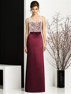After Six Bridesmaids Style 6675 in burgundy also comes in a darker more purpley red- Ruby