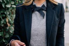 Gal Meets Glam Bow Sweater & Classic Black Coat - Joseph coat & J.Crew sweater