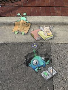 Sluggo at the Ann Arbor Book Festival, where reading is fundamental, contagious and soporific. The Arena Sportsbar, Ann Arbor Book Festival Street Fair, Michigan (June 22, 2014) - street art by David Zinn