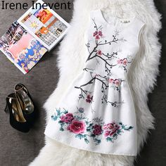 Irene Inevent 2017 Dress Women's Clothing Plus Size Summer Sleeveless Floral Print Vest Dress Party Princess Dresses Vestidos #Affiliate