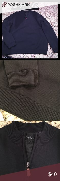 👔MEN'S PULL OVER👔 Here's a VERY NICE pullover men's sweater w/a leather 1/2 zip, banding around waist and end of sleeves and same pattern around collar (pics 2&3). Outer shell is 100% cotton w/lining being 100% polyester. EUC!! This can be used for dressing up or a bit more casual ... (dress shirt w/sleeves and collar outside of this pullover or w/a pair of jeans). SUPER NICE!! Please ask ALL questions b4 buying as ALL sales are final and AS IS/NO HOLDS OR TRADES!🤗🎉🤗🎉 Walter Hagen…