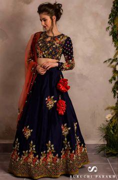 Royal Blue Women Embroidered Taffeta Silk Embroidered Lehenga Choli WIth New designer Lehenga Choli Indian Dresses, Indian Outfits, Indian Clothes, Girl Fashion, Fashion Outfits, Eid Outfits, Desi Wear, Lehenga Designs, Indian Designer Wear
