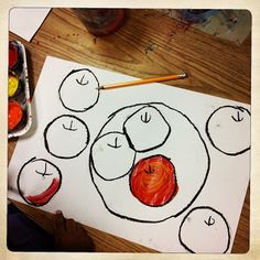 ChumleyScobey Art Room: Cezannes Apples with 1st Grade warm and cool colors Painting-watercolors Cutting and pasting