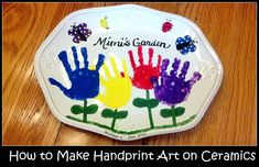 Kid's handprint art makes a sweet homemade gift for moms and grandmas. Find step-by-step instructions with pictures to help you create a cute design on a ceramic dish with your child's handprints.
