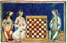 Tres mujeres andalusíes: dos con túnica, y una en túnica o camisa interiors, s. XIII: vestimenta femenina. El libro de los juegos.