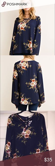 Navy Floral Print Top Floral print a-line blouse featuring strapping neck detail. Keyhole on back with button closure. Semi sheer. Woven. Lightweight. 95% Polyester 5% Spandex. New with tags. Entro Tops Blouses