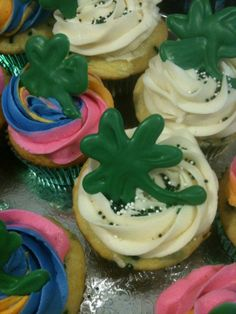 St Patrick's day Guinness Cupcakes with Green Chocolate shamrocks