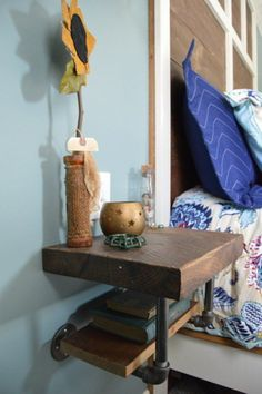 Love the industrial style pipe shelf nightstand @istandarddesign