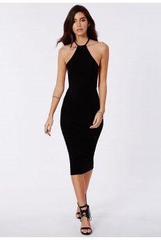 Suzanne Cross Back Bodycon Midi Dress In Black