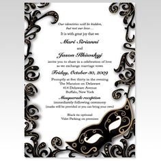 Masquerade Party Invitation dark version Digital File