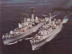 HMS Bristol, D23, (L) & HMS Fife, D20 (R)