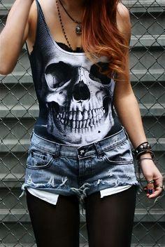 Skull vest top <3 (a favourite gothic punk clothes repin of VIP Fashion Australia )