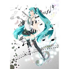aqua hair harutiki hatsune miku headset solo thighhighs twintails... ❤ liked on Polyvore featuring anime and vocaloid