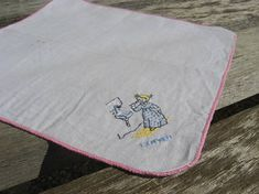Monday Handkerchief. Vintage French lundi linen hanky. Hand embroidered, daily chore, blong little girl teeth brushing, pink trim edge. @PumpjackPiddlewick on Etsy