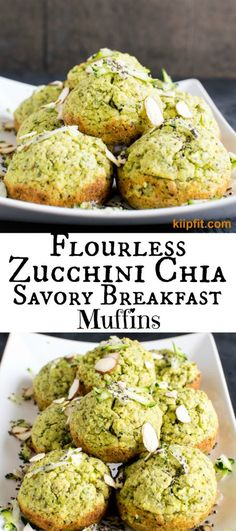 Flourless Zucchini Chia Savory Breakfast Muffins - The green color of the muffins and the aromatic lemon pepper spice blended with fresh zucchini was absolutely mouthwatering. These soft and fluffy melt in mouth savory muffins were a complete delight to o Breakfast Snacks, Vegetarian Breakfast, Savory Breakfast, Vegetarian Recipes, Cooking Recipes, Healthy Recipes, Vegan Zucchini Recipes, Savory Zucchini Bread, Zucchini Breakfast