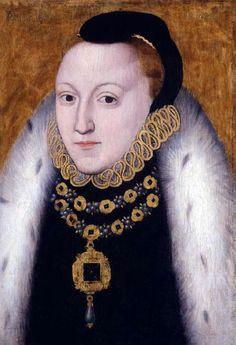 """Queen Elizabeth I - """"the Clopton portrait"""" (detail) ca. 1560, unknown artist"""