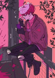 *explodes a dude, casually texts bf*/// Wow ig cropped this horribly. Anyways some unfortunate had the displeasure of having to catch… Aesthetic Art, Aesthetic Anime, Pretty Art, Cute Art, Manga Art, Anime Art, Arte Dope, Arte Cyberpunk, Japon Illustration