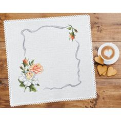 Cross stitch kit with mouline and napkin - Napkin - Sunflowers Cross Stitch Flowers, Cross Stitch Patterns, Stitch Kit, Sunflowers, Napkins, Roses, Color, Seed Stitch, Towels