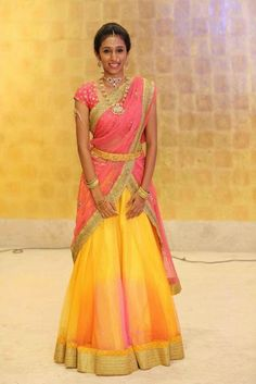Pattu Pavadai is a traditional attire of south Indian women, especially for youngsters. pattu pavadai is also known as half saree. Lehenga Saree Design, Half Saree Lehenga, Lehnga Dress, Lehenga Designs, Saree Blouse Designs, Anarkali, Indian Wedding Outfits, Indian Outfits, Half Saree Designs