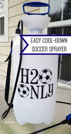 "Add a vinyl label to a 3-gallon tank sprayer to create a ""H2O Only"" cool-down for soccer games and practices.  Free .studio file download for your Silhouette vinyl machine."