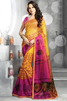 Yellow printed party wear saree with matching blouse From Hdbazaar.