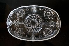 Mikasa Snowflake crystal divided relish tray