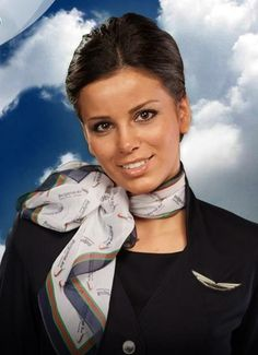 Airline Uniforms, Travel Flights, Cabin Crew, Flight Attendant, Woman Face, Scarf Outfits, Sensible Shoes, Silk Scarves, Beautiful