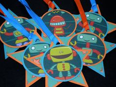 Robots Star Shape Gift Tags Scrapbook Embellishments on Etsy, $7.50