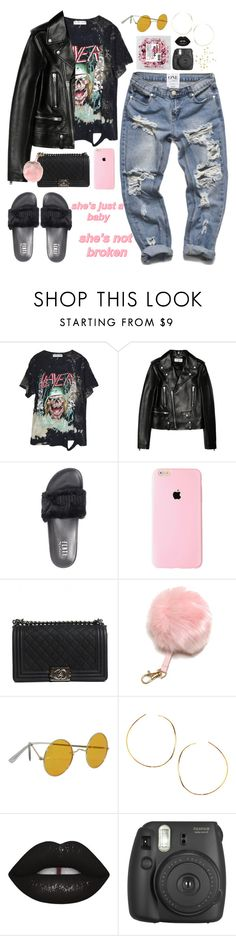 """C L – M E N T A L B R E A K D O W N"" by alicehite ❤ liked on Polyvore featuring High Heels Suicide, Yves Saint Laurent, Puma, Chanel, Lana, gold, black, KylieJenner and cl"