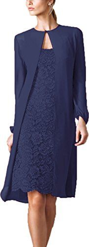 Okaybridal Womens Knee Length Lace Mother of the Groom Dresses with Jacket Size 18 US Navy Blue -- Read more reviews of the product by visiting the link on the image.(This is an Amazon affiliate link and I receive a commission for the sales)