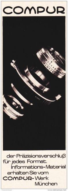 3 x Original-Werbung/ Anzeige 1960 er Jahre - COMPUR - je ca. 60 x 180 mm