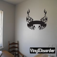 Tribal Flames Frame Wall Decal - Vinyl Decal - Car Decal - DC 016