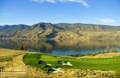 This is the 9th hole at Tobiano Golf Course in Kamloops, British Columbia photographed by Bob Huxtable from a Helicopter.